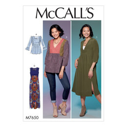 McCall's Misses' V-Neck or Square-Neck Top, Tunic, and Dresses M7650 - Sewing Pattern