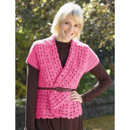 Crochet Vest with Shawl Collar in Bernat Satin