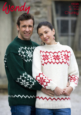 d71b0f2604 His and Her Snowflake Sweater in Wendy Mode Chunky - 5598