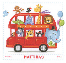 Vervaco Safari Bus Birth Sampler Cross Stitch Kit - 28cm x 28cm