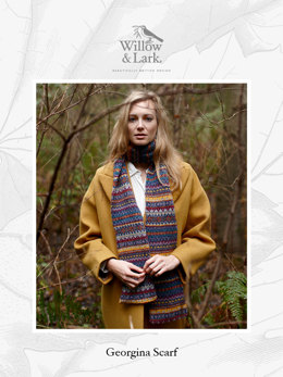 """Georgina Scarf"" - Scarf Knitting Pattern For Women in Willow & Lark Woodland"
