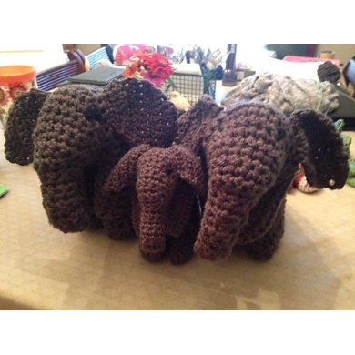 Crocheted Elephant Family