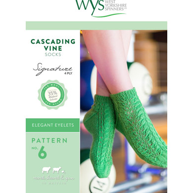 Cascading Vine Socks in West Yorkshire Spinners Signature 4 Ply - Downloadable PDF