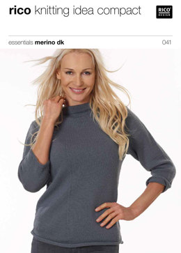 Sweater with Diagnoal Stitches in Rico Essentials Merino DK - 041
