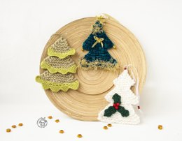 3 Christmas trees ornament  knitted flat