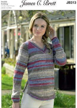 Ladies V Neck Sweater in James C. Brett Woodlander DK - JB313 - Leaflet