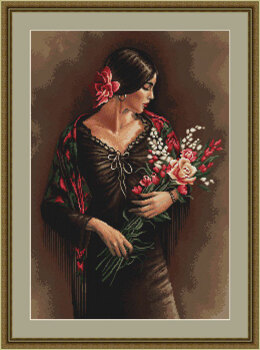 Luca-S Spanish Lady with Bouquet Petit Point Tapestry Kit