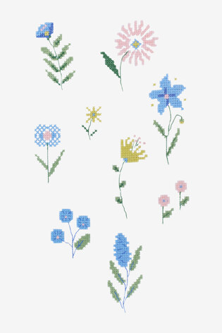 Folk Ditsy Flower  pattern in DMC - PAT0228 -  Downloadable PDF