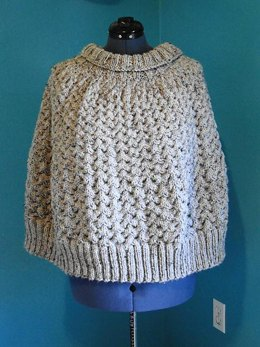 Grey Marble Cable Poncho