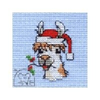 Mouseloft Christmas Card Stitchlet - The Holly and the Llama Cross Stitch Kit