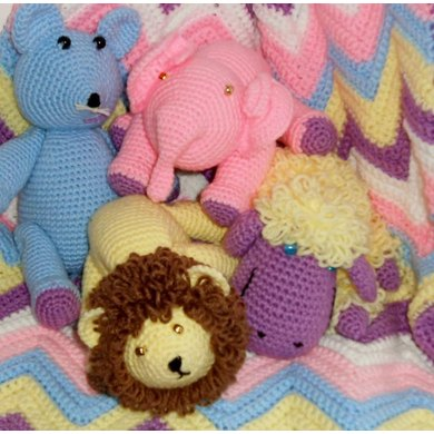 Ripple Crib Blanket and Critters
