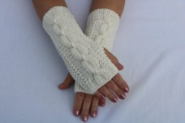 Snow  Ball Fingerless Gloves.