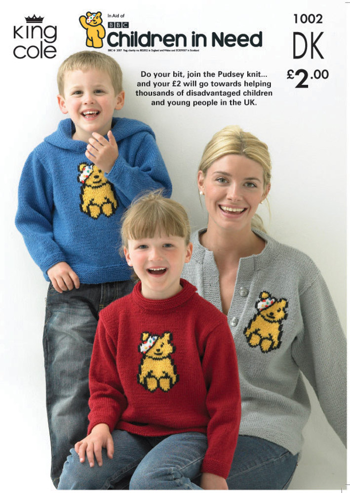 Children In Need Pudsey Bear Sweaters And Cardigan Knitted