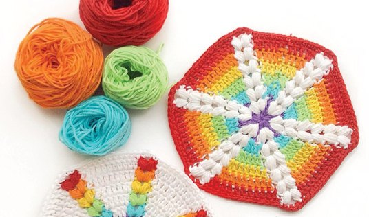 Rainbow Puff Hexagons by Crafty CC
