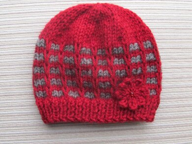 Ridged Check Stitch Hat for a Girl in Sizes 12 months and 2-4 years