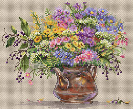 Merejka Wild Flowers Cross Stitch Kit - 24cm x 20cm