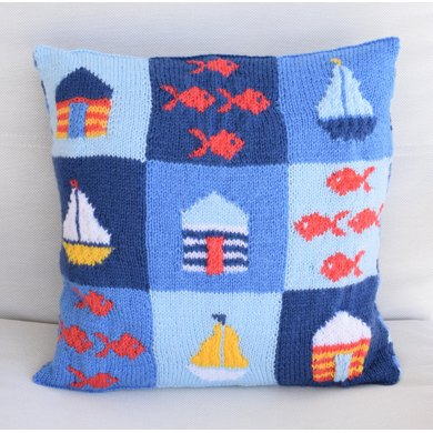 At The Seaside Cushion Knitting Pattern By Iknitdesigns