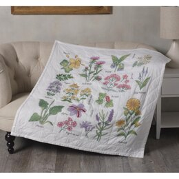 Bucilla Stamped Cross Stitch Lap Quilt Kit - Wildflower Botanical
