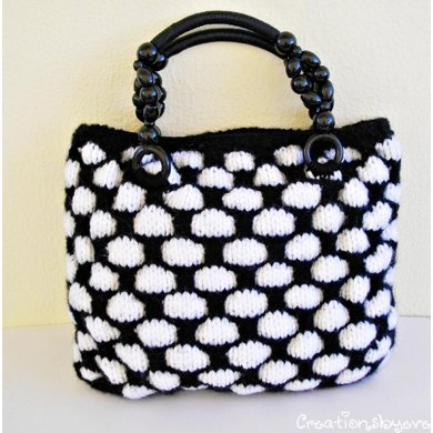Large black and white textured bag