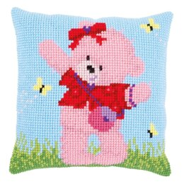 Vervaco Popcorn Brie Bear & Butterflies Cross Stitch Cushion Kit
