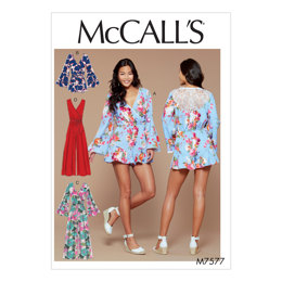 McCall's Misses' Cross-Bodice Romper, Jumpsuit, and Belt M7577 - Sewing Pattern