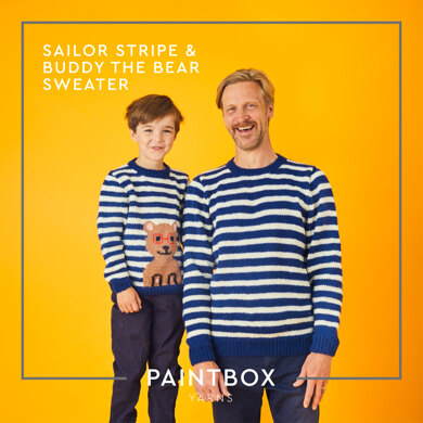 """ Sailor Stripe and Buddy the Bear Sweater "" - Free Sweater Knitting Pattern For Boys and Men in Paintbox Yarns Wool Mix Aran by Paintbox Yarns"