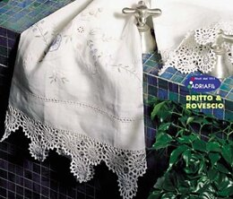 Towel - Lace in White with Flower Motif in Adriafil Doppio Ritorto 16/3=12 - Downloadable PDF
