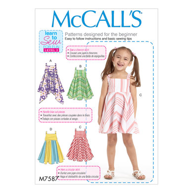 McCall's Children's/Girls' Dresses with Square Neck, and Circular Skirt Variations M7587 - Sewing Pattern