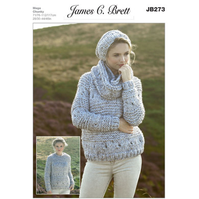 Sweater, Snood and Hat in James C. Brett Rustic Mega Chunky - JB273