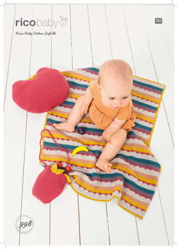 Blanket, Bag and Pillow in Rico Baby Cotton Soft DK - 998 - Downloadable PDF