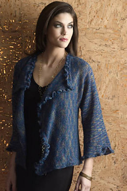 Ruffled Drape-Front Jacket in S. Charles Collezione Ritratto