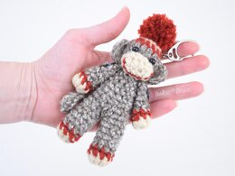 Spunky The Tiny Sock Monkey Keychain PDF Crochet Pattern