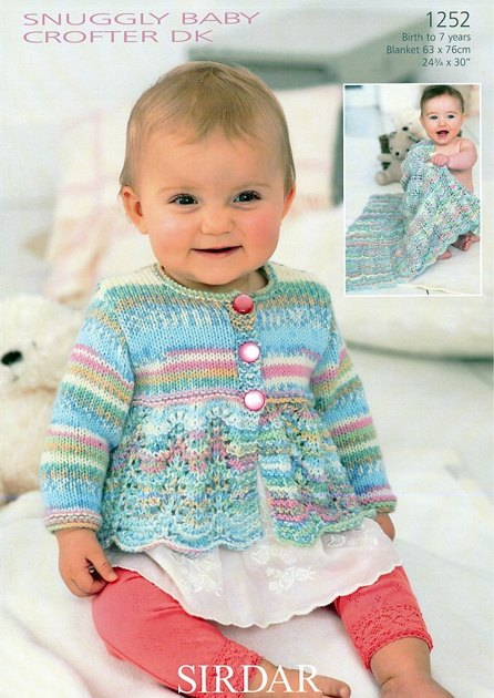 Blanket and Scalloped Edge Cardigan in Sirdar Snuggly Baby ...