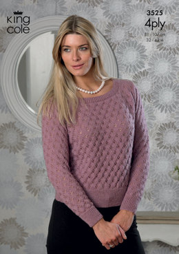Sweater and Top in King Cole Merino Blend 4 Ply - 3525