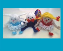 Humpty dumpty, ballerina and bunny Creme egg holders, knit in lace