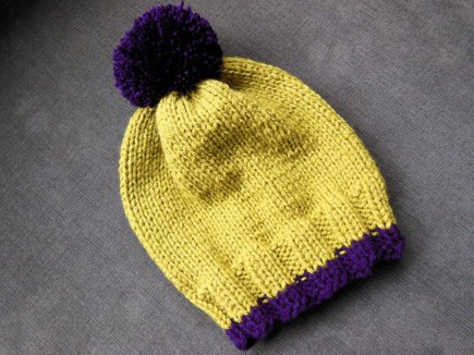 Winter Hat Double Knit Stockinette Stitch Knitting Project By