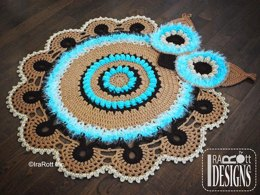 Retro Owl Rug or Doily Rug Nursery Mat