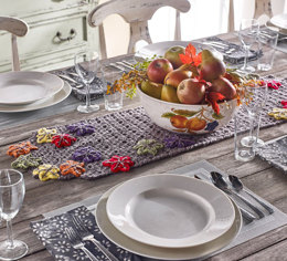 Fall Table Runner in Red Heart With Love Solids - LW4982 - Downloadable PDF