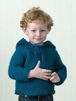 Country Classic Child's Hooded Sweatshirt in Lion Brand Wool-Ease Thick & Quick - 30142AD