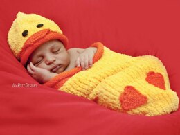 KNIT Quacky Easter Ducky  Baby Hat and Cocoon Set
