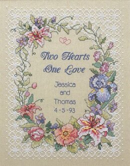 Dimensions Two Hearts Wedding Record Stamped Cross Stitch Kit