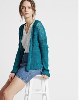 Addicted to Love Cardigan in Wool and the Gang Tina Tape Yarn - Leaflet