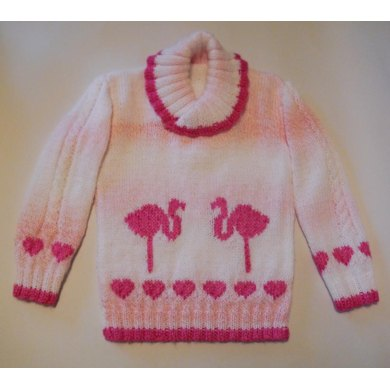 Flamingos and Hearts Sweater