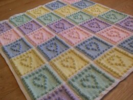Heart Squares 1-piece Baby Blanket (Plain or Intarsia)