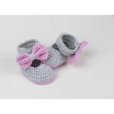 Lavender Bow Tie Baby Booties