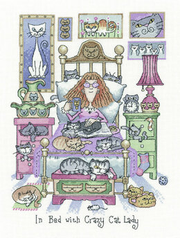 Heritage In Bed with Crazy Cat Lady, 28 count Evenweave Cross Stitch Kit - 22cm x 30cm
