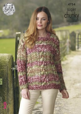 Sweater & Waistcoat in King Cole Super Chunky - 4754 - Downloadable PDF