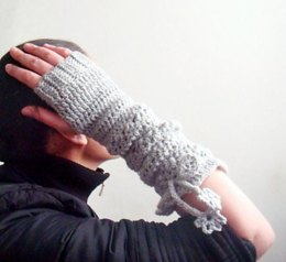 Long Fingerless Gloves with Flower I-cord