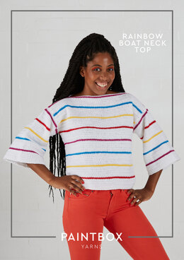 Rainbow Boat Neck Top in Paintbox Yarns Simply DK - Downloadable PDF