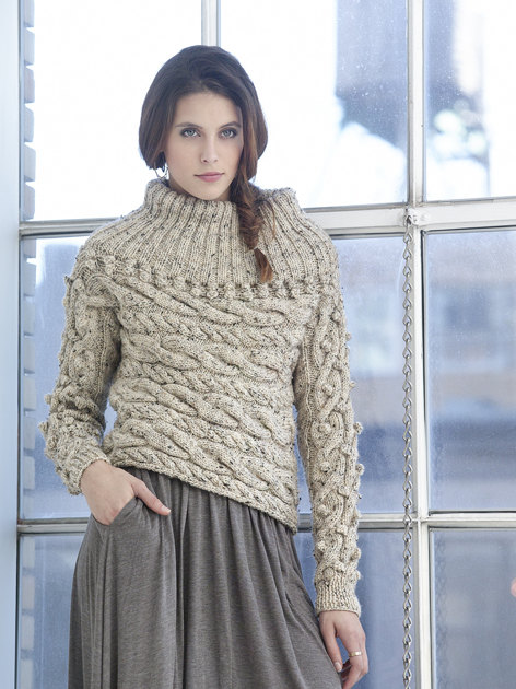 Sideways Cable Pullover In Lion Brand Vanna S Choice